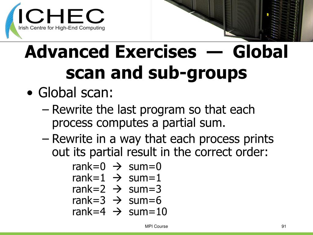 Advanced Exercises  —  Global scan and sub-groups