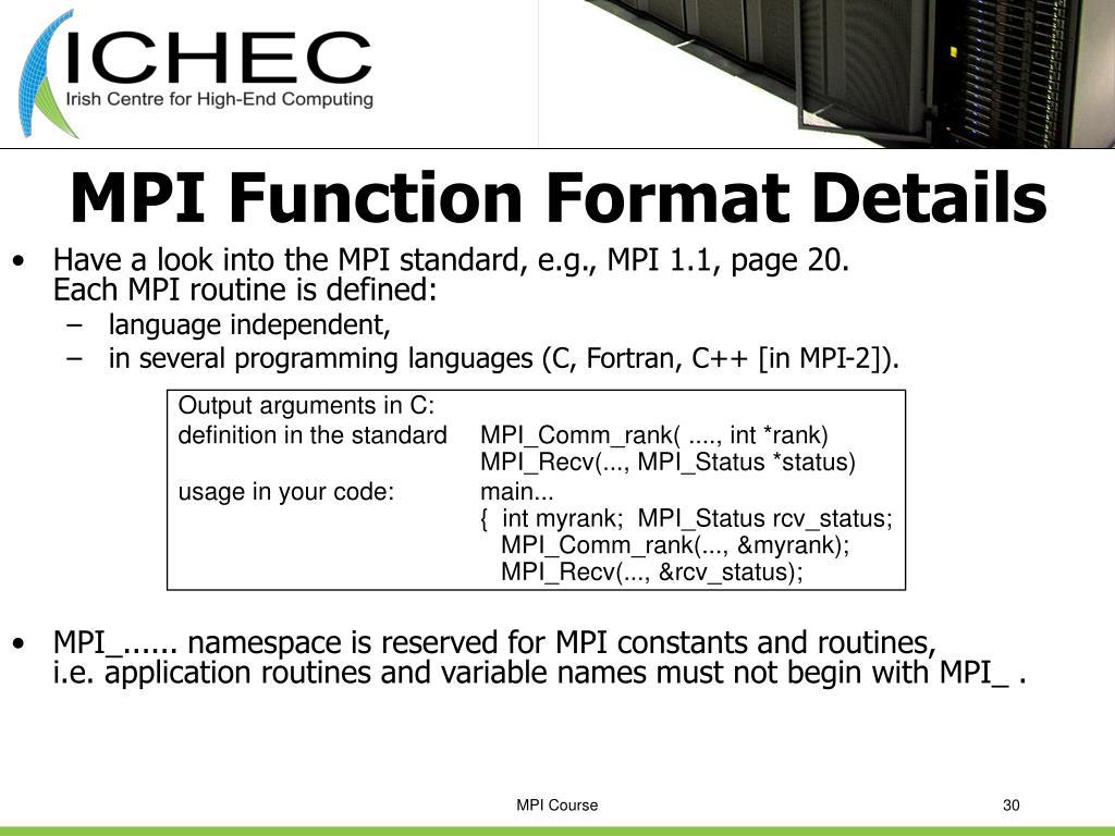 MPI Function Format Details