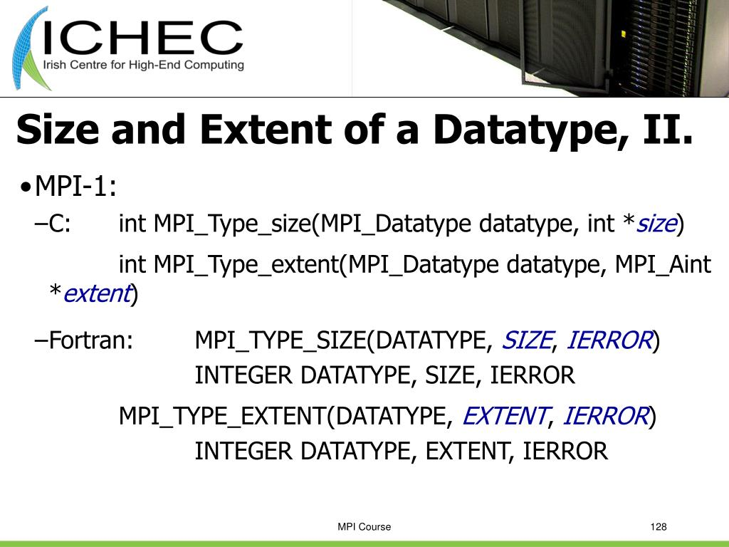 Size and Extent of a Datatype, II.