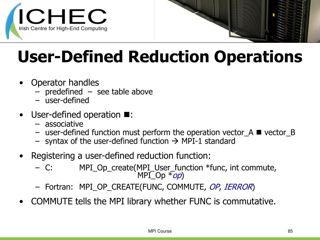 User-Defined Reduction Operations