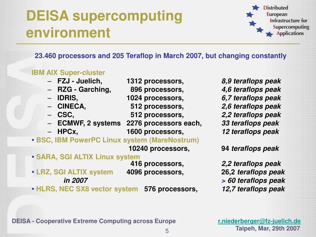 DEISA supercomputing
