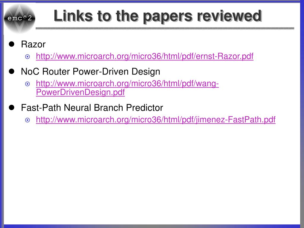 Links to the papers reviewed