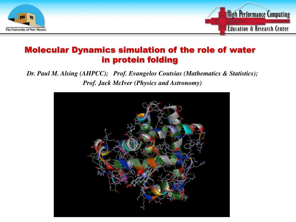 Molecular Dynamics simulation of the role of water in protein folding