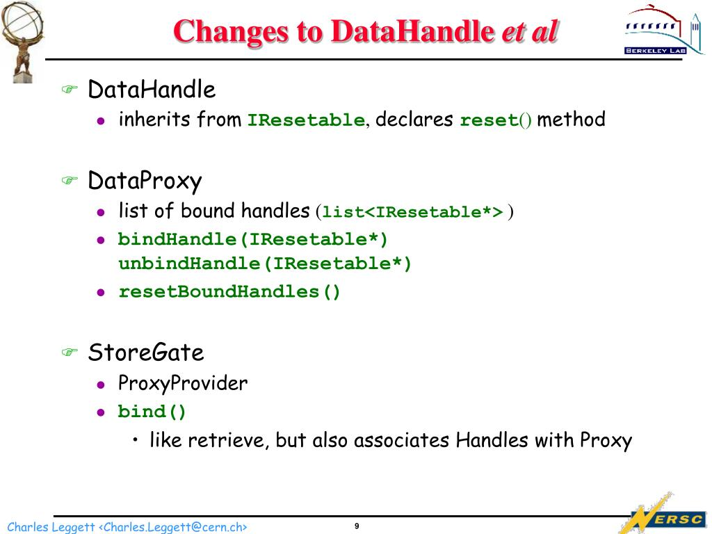 Changes to DataHandle