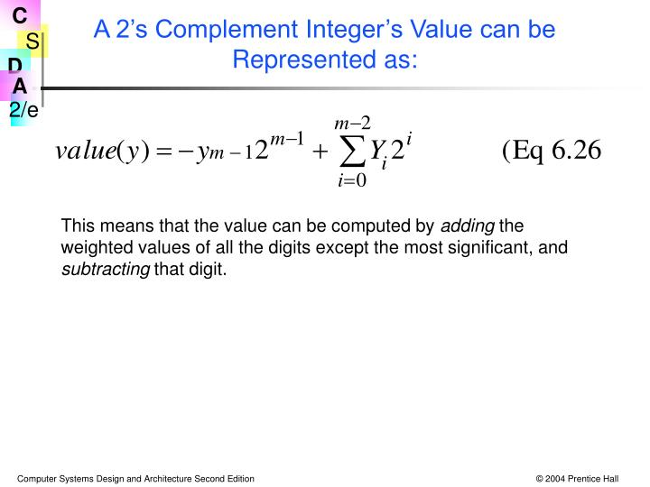 A 2's Complement Integer's Value can be Represented as: