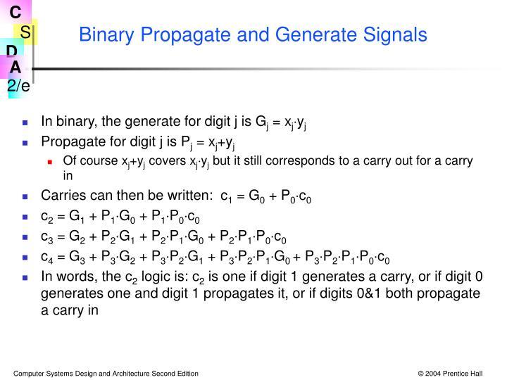 Binary Propagate and Generate Signals