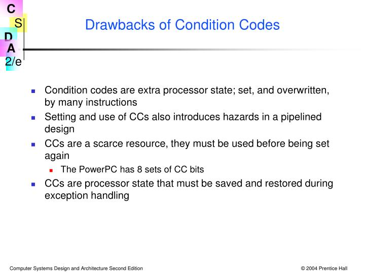Drawbacks of Condition Codes