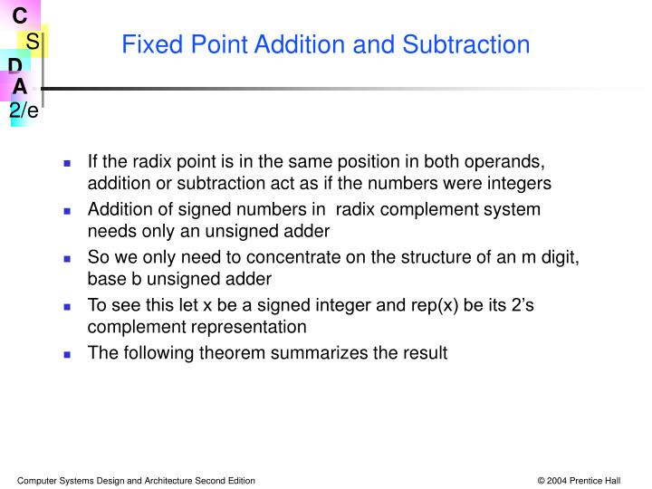 Fixed Point Addition and Subtraction