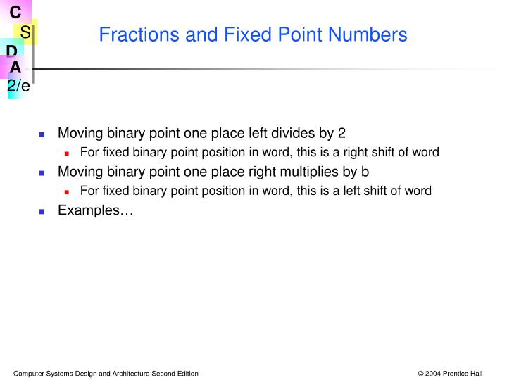 Fractions and Fixed Point Numbers