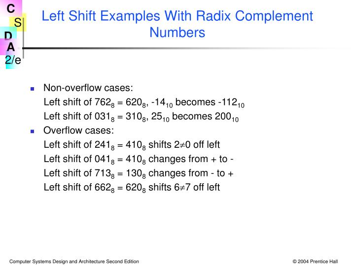 Left Shift Examples With Radix Complement Numbers