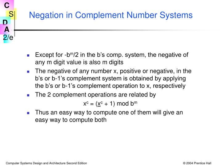 Negation in Complement Number Systems