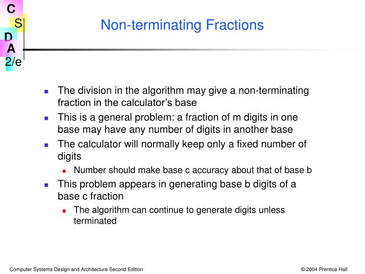 Non-terminating Fractions