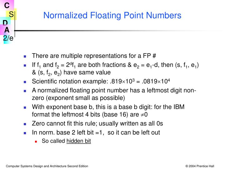 Normalized Floating Point Numbers