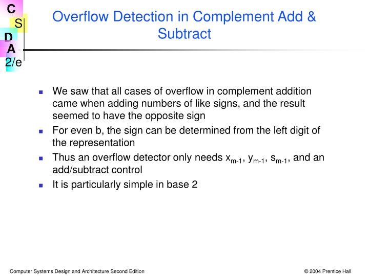 Overflow Detection in Complement Add & Subtract