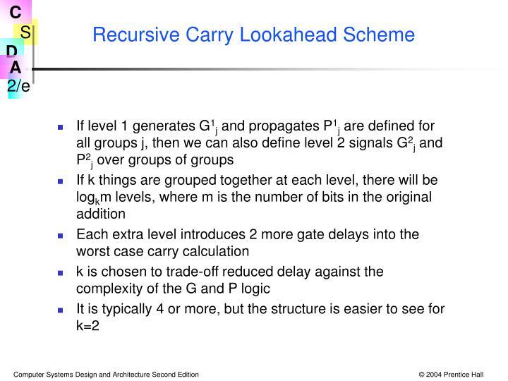 Recursive Carry Lookahead Scheme