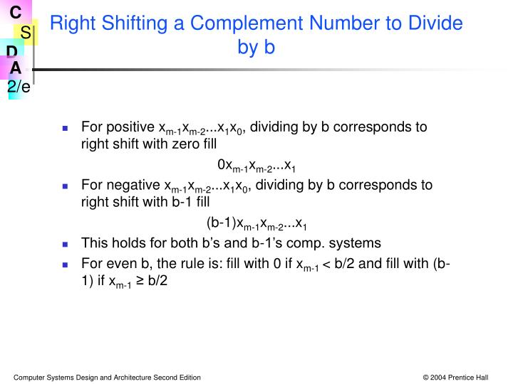 Right Shifting a Complement Number to Divide by b