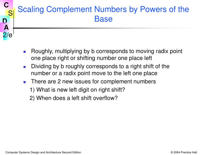 Scaling Complement Numbers by Powers of the Base