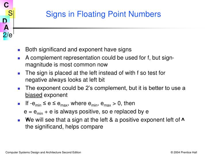 Signs in Floating Point Numbers