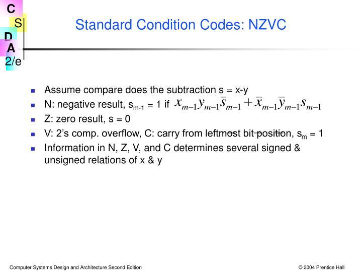 Standard Condition Codes: NZVC