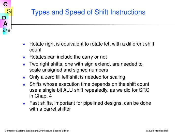 Types and Speed of Shift Instructions