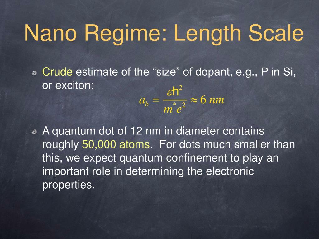 Nano Regime: Length Scale