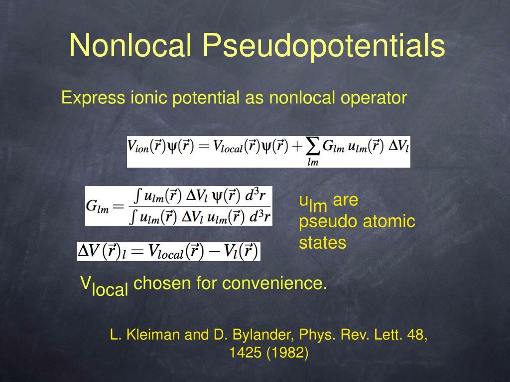 Nonlocal Pseudopotentials