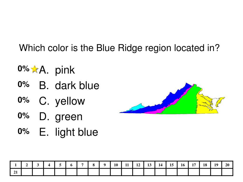 Which color is the Blue Ridge region located in?