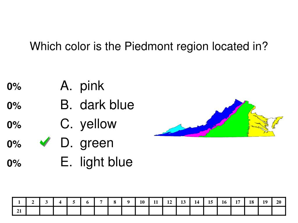 Which color is the Piedmont region located in?