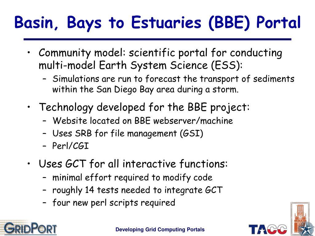 Basin, Bays to Estuaries (BBE) Portal