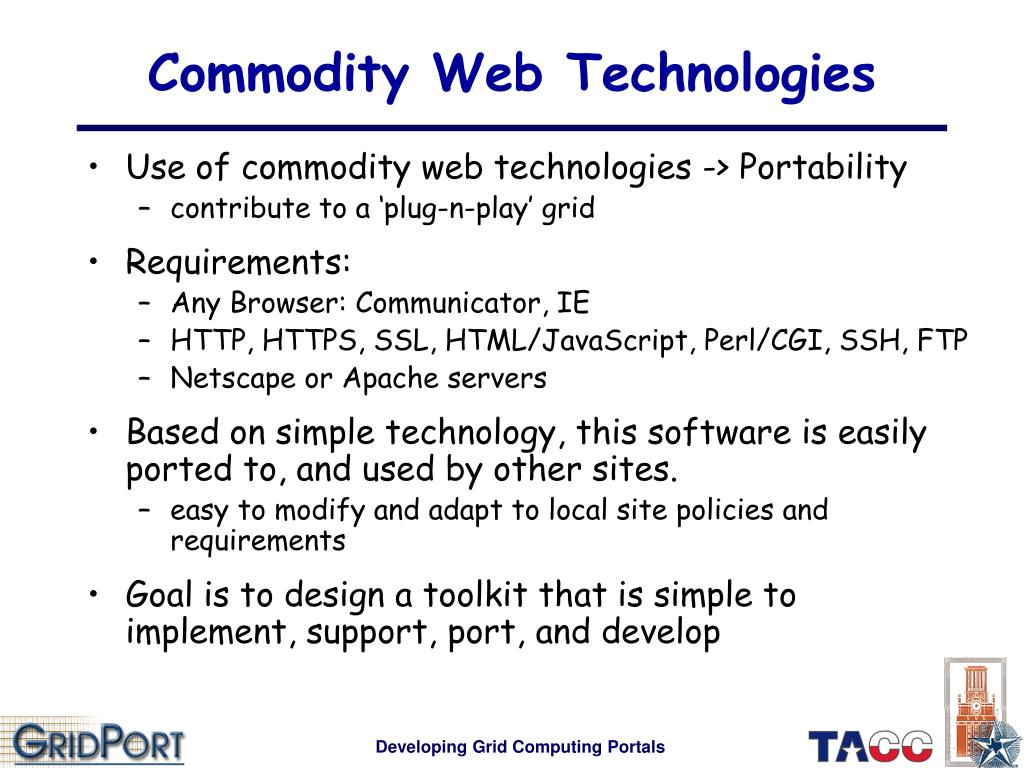 Commodity Web Technologies