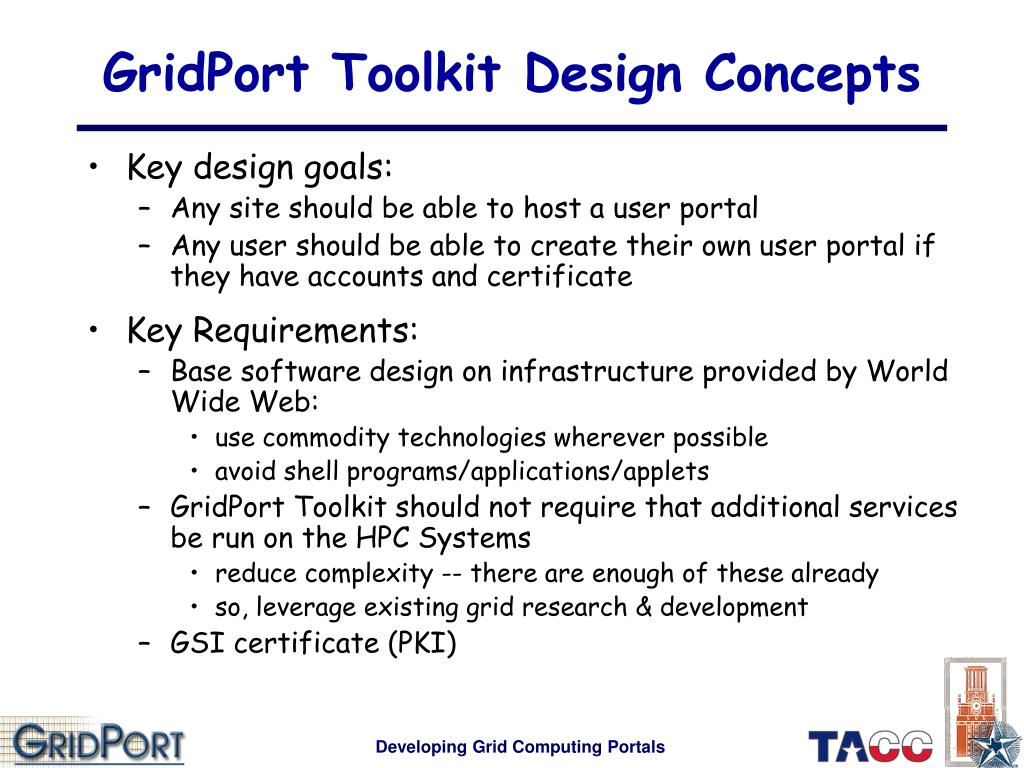 GridPort Toolkit Design Concepts