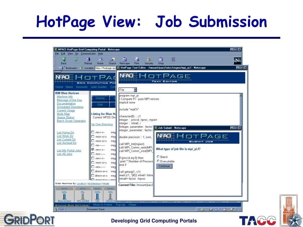 HotPage View:  Job Submission