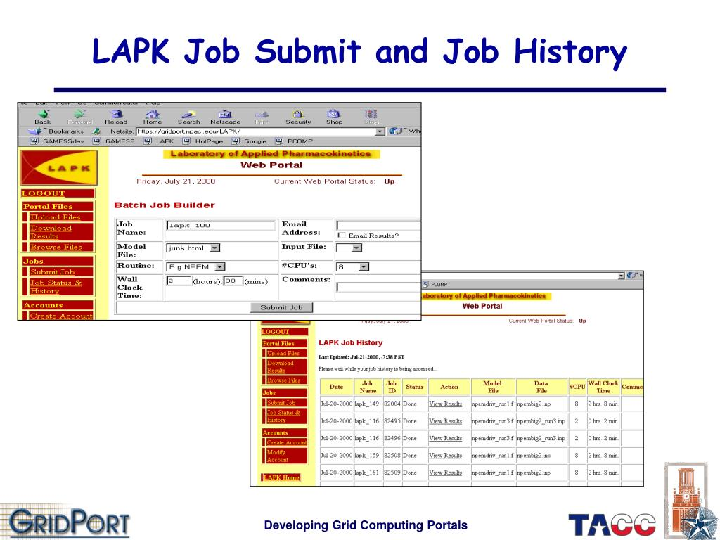 LAPK Job Submit and Job History