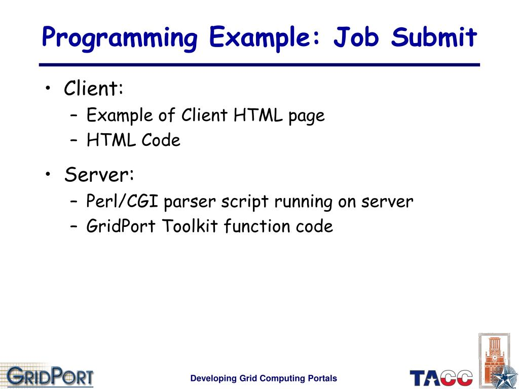 Programming Example: Job Submit