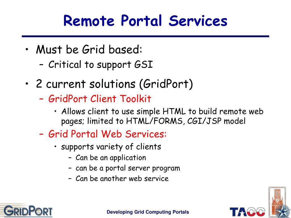 Remote Portal Services