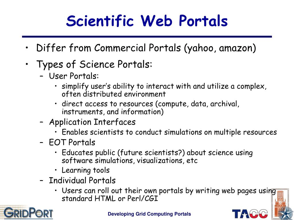 Scientific Web Portals