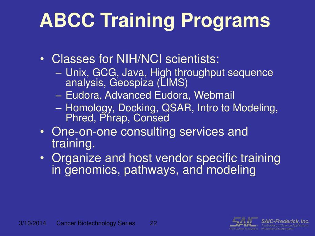 ABCC Training Programs