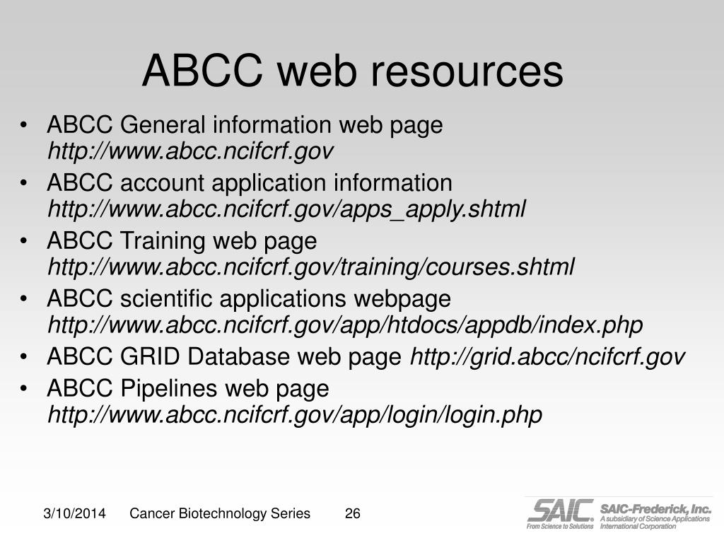 ABCC web resources
