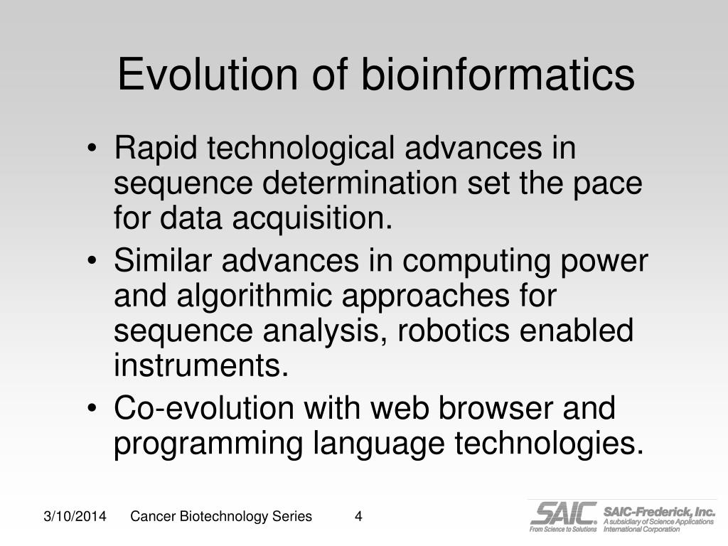Evolution of bioinformatics