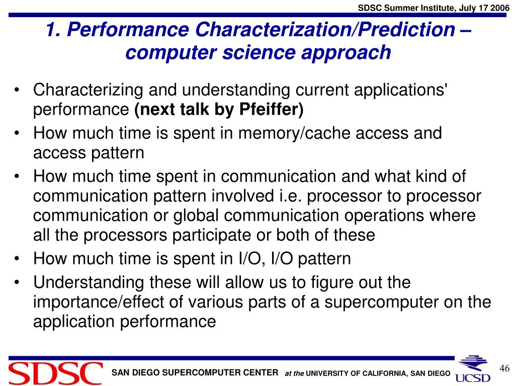 1. Performance Characterization/Prediction – computer science approach