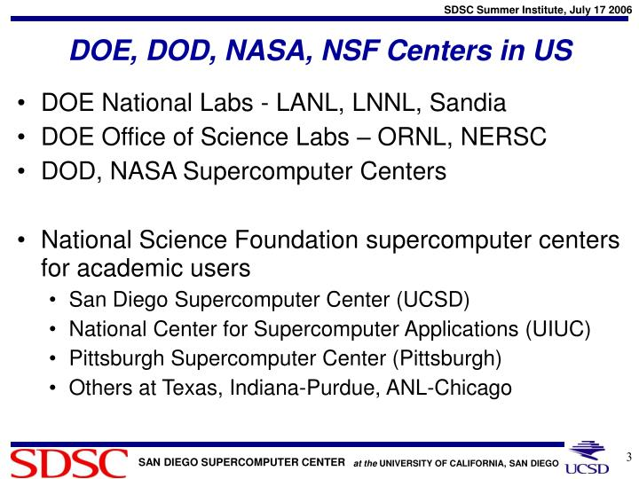 Doe dod nasa nsf centers in us