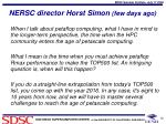 nersc director horst simon few days ago