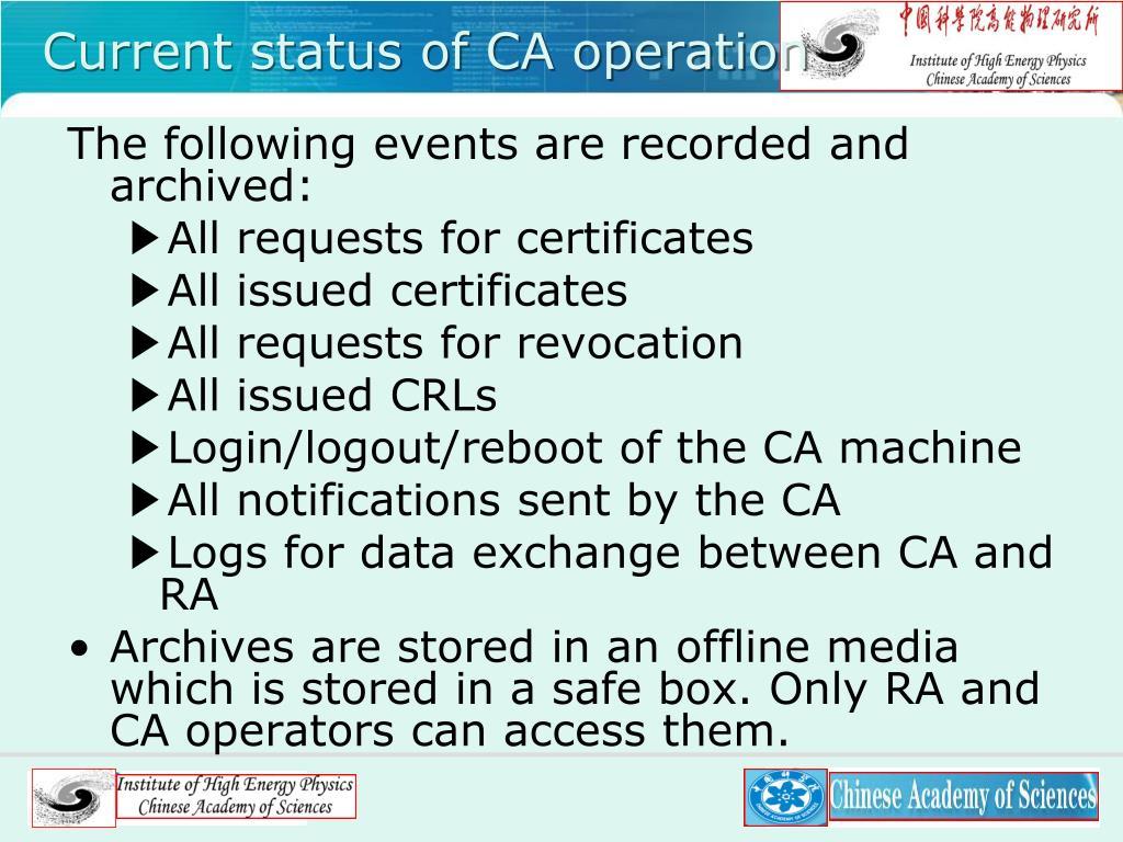 Current status of CA operation