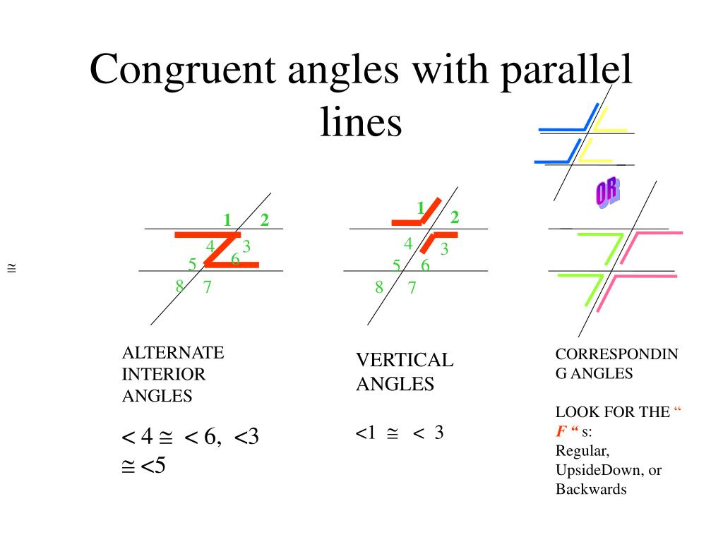 Congruent angles with parallel lines