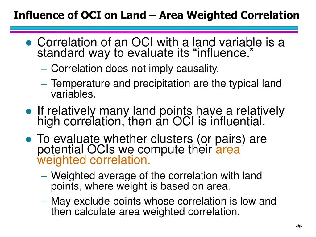 Influence of OCI on Land – Area Weighted Correlation