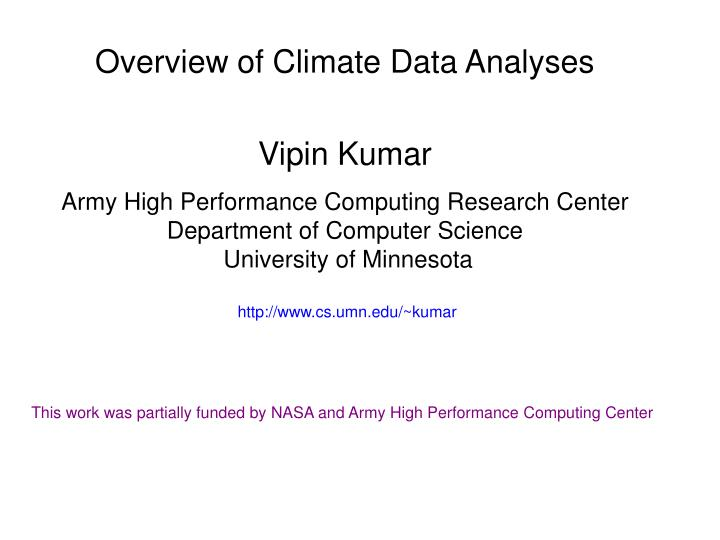 Overview of Climate Data Analyses