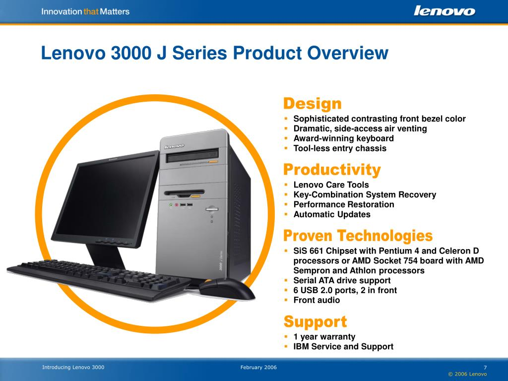 Lenovo 3000 J Series Product Overview