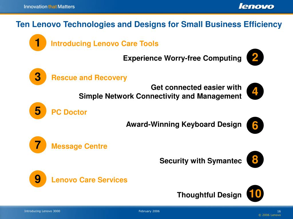 Ten Lenovo Technologies and Designs for Small Business Efficiency