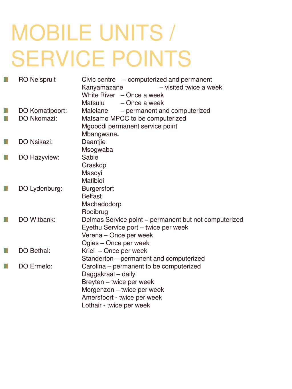 MOBILE UNITS / SERVICE POINTS