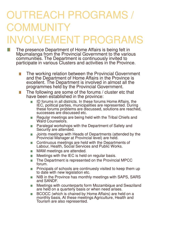 OUTREACH PROGRAMS / COMMUNITY INVOLVEMENT PROGRAMS